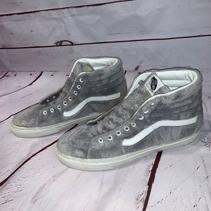 Vans fuzzy gray high top shoes